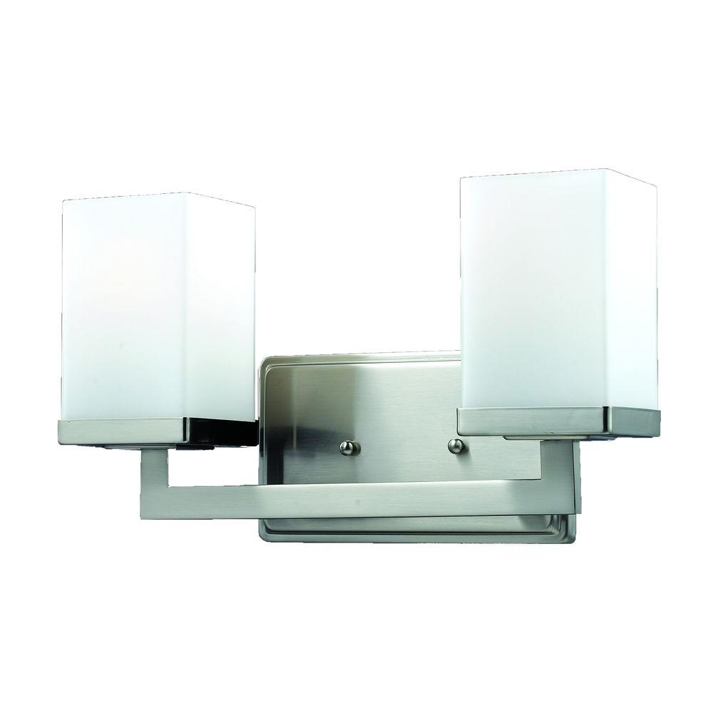 Phebe 2 Light Brushed Nickel Bath Vanity Light With Matte Opal Glass