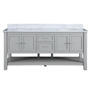 Home Decorators Collection Gazette 72 inch W x 22 inch D Double Bath Vanity in Grey with... by Home Decorators Collection