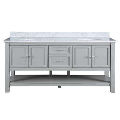 Gazette 72 in. W x 22 in. D Double Bath Vanity in Grey with Marble Vanity Top in Carrara White