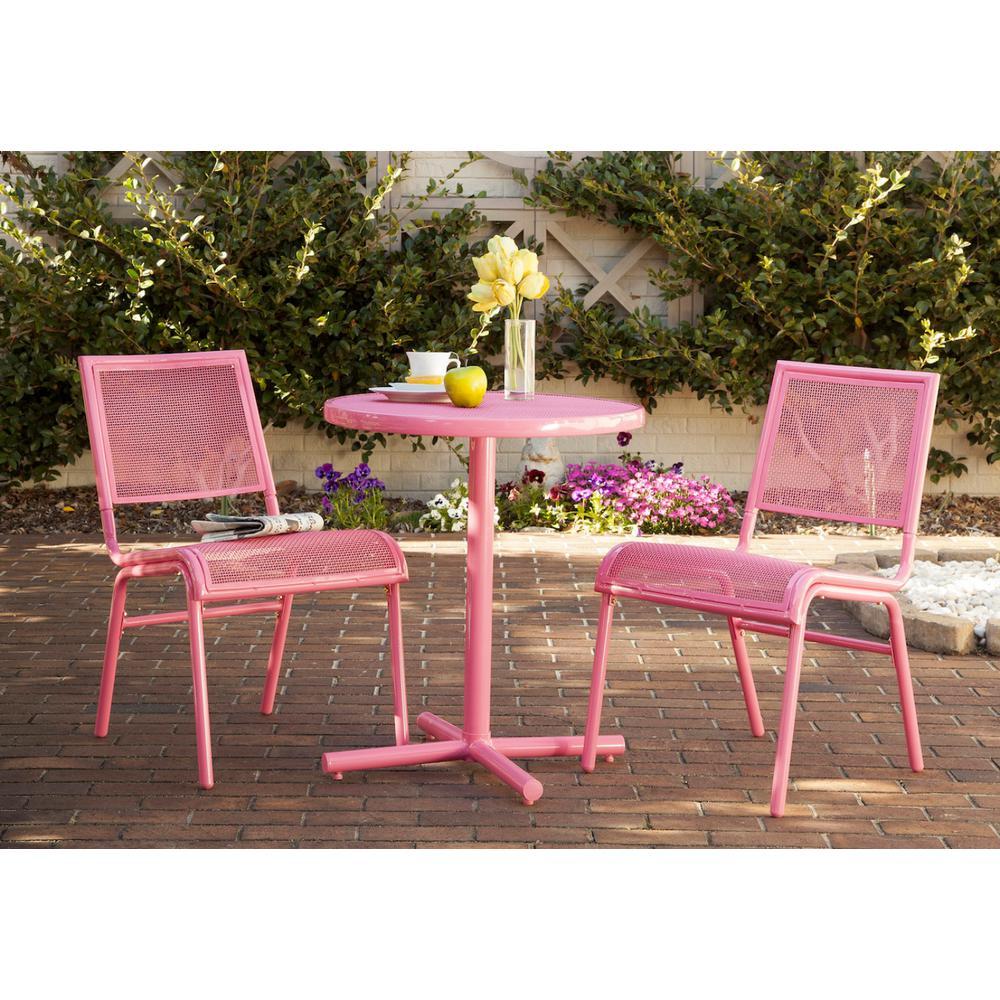 Pink 3-Piece Metal Bixby Outdoor Bistro Set