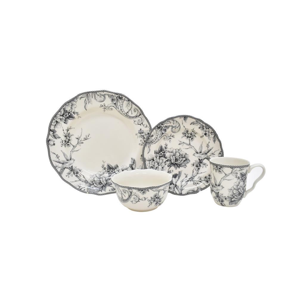 Adelaide Grey 16-Piece Dinnerware Set