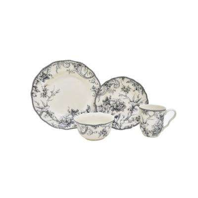 Adelaide 16-Piece White and Grey Dinnerware Set
