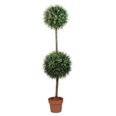 55.5 in. Potted 2-Tone Artificial Boxwood Double Ball Topiary Tree