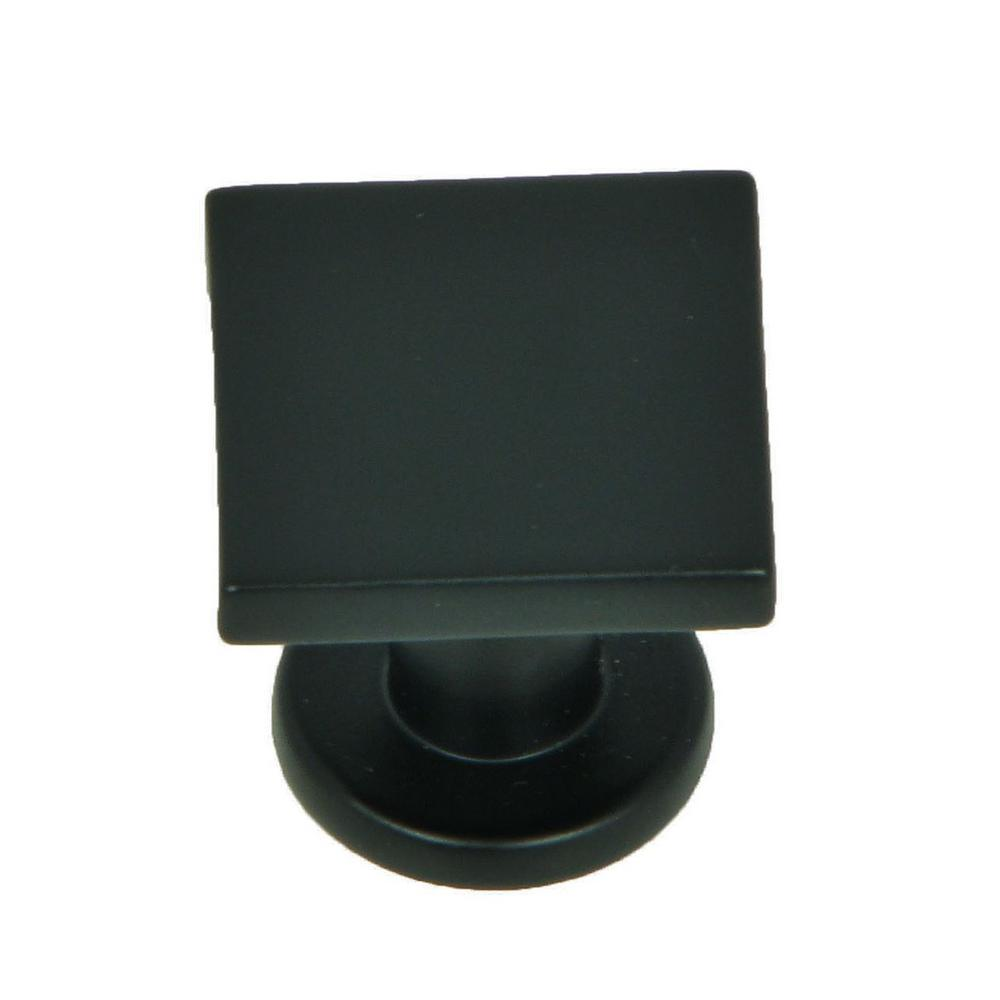 Stone Mill Hardware SoHo 1 in. Matte Black Square Cabinet Knob (10-Pack)