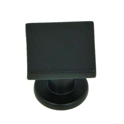 SoHo 1 in. Matte Black Square Cabinet Knob (10-Pack)
