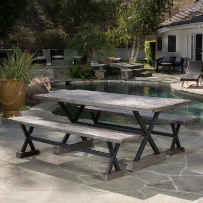 Belmond Brown 3-Piece Stone Outdoor Dining Set