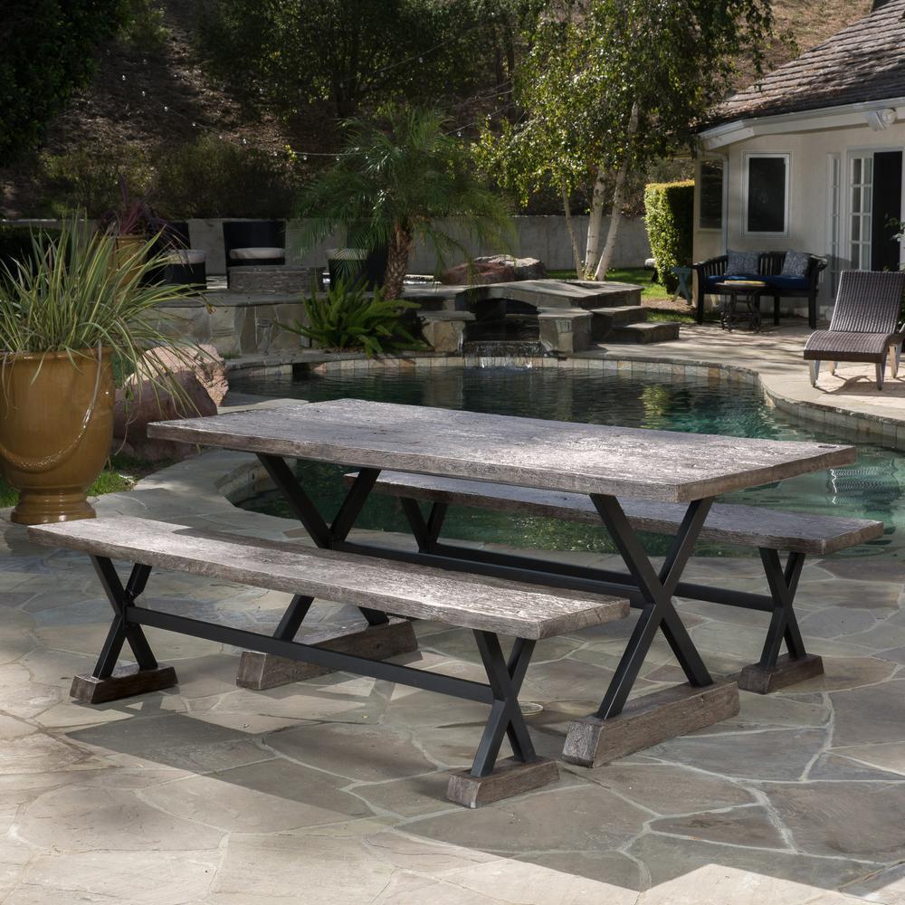 Belmond Brown 3-Piece Stone Outdoor Dining Set