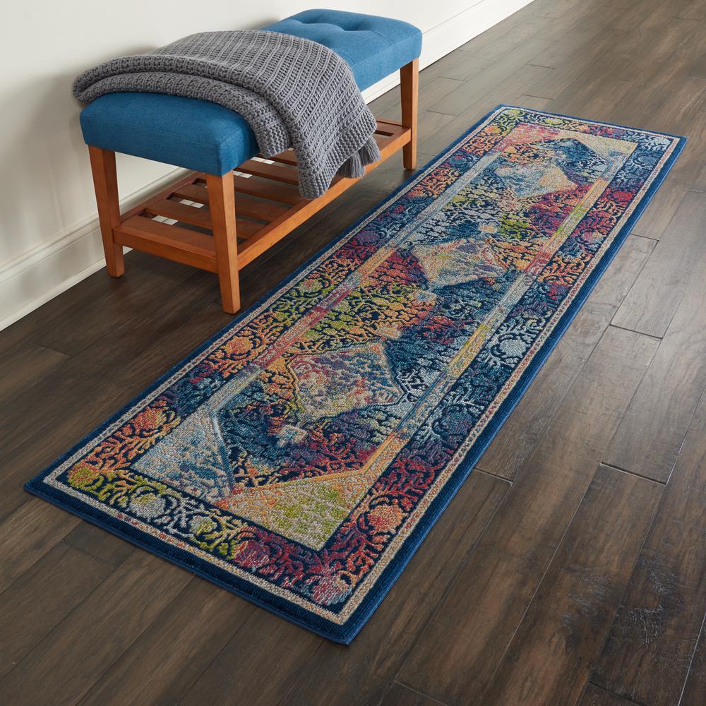 Nourison Global Vintage Blue Multicolor 2 Ft X 6 Ft Oriental Vintage Runner Rug 458124 The Home Depot