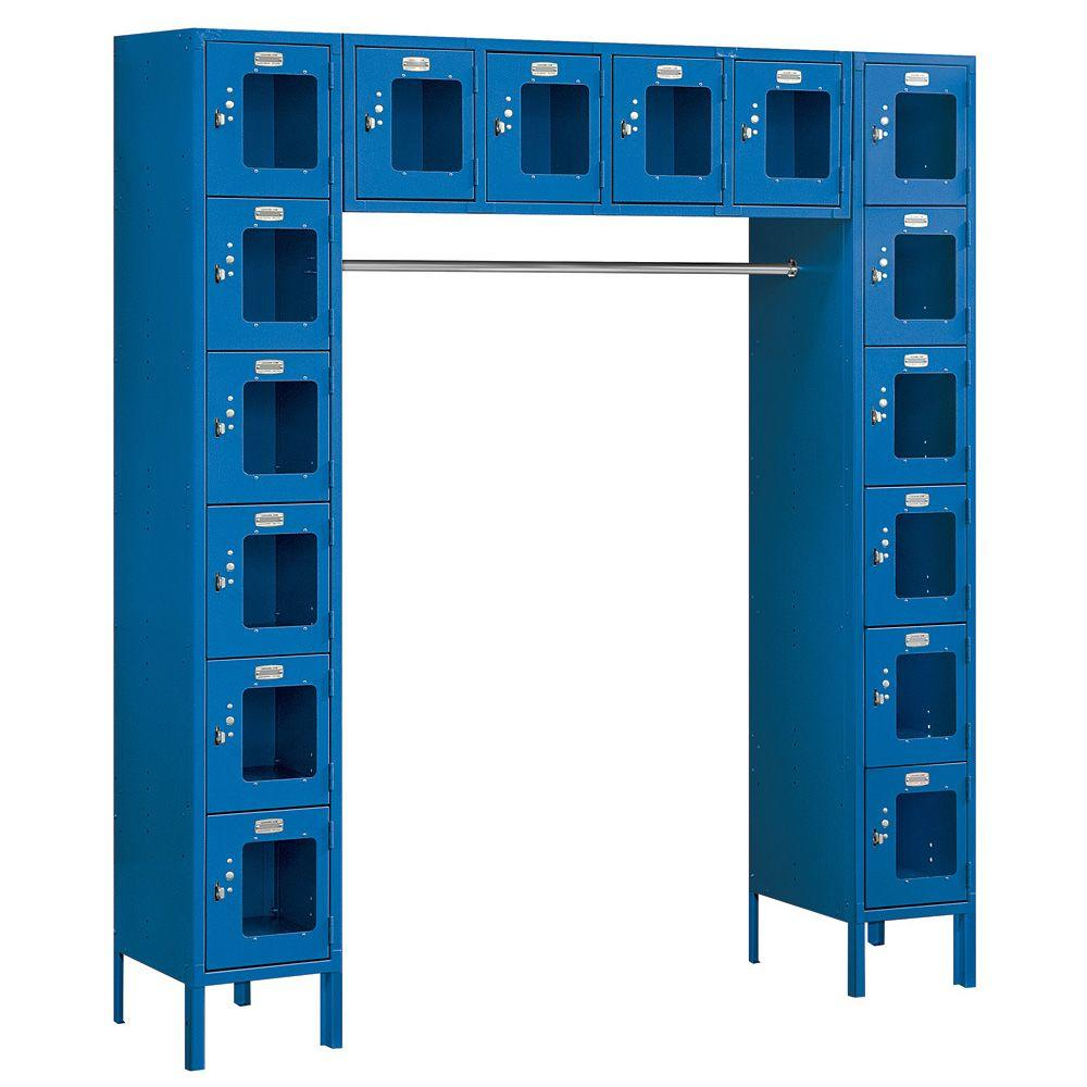 Salsbury Industries S-66016 Series 72 in. W x 78 in. H x 18 in. D 6-Tier Box Style Bridge See-Through Metal Locker Unassembled in Blue