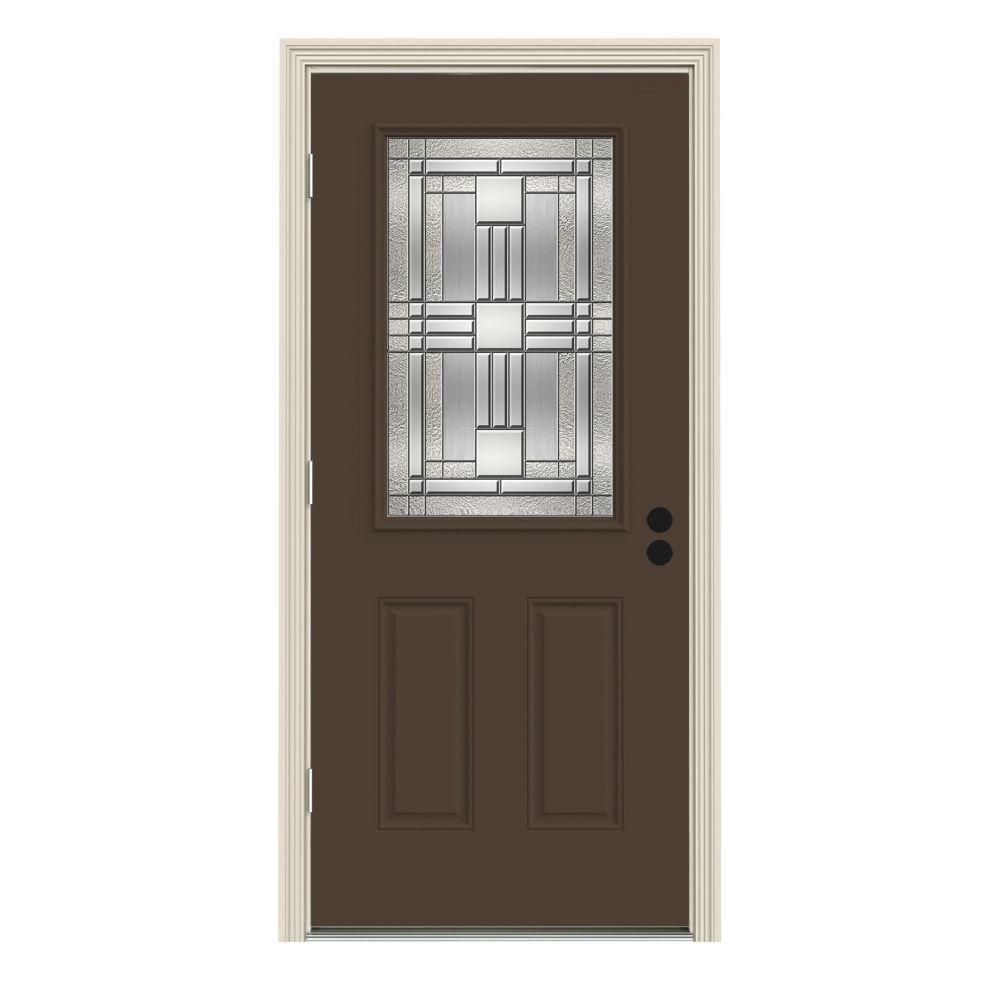 JELD-WEN 34 in. x 80 in. 1/2 Lite Cordova Dark Chocolate Painted Steel Prehung Right-Hand Outswing Front Door w/Brickmould