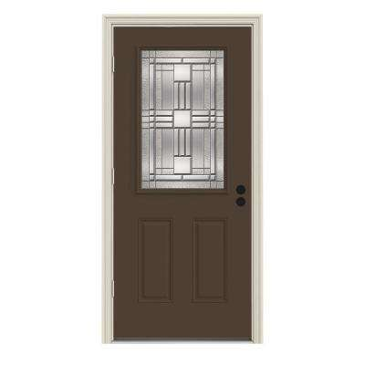 36 in. x 80 in. 1/2 Lite Cordova Dark Chocolate Painted Steel Prehung Right-Hand Outswing Front Door w/Brickmould
