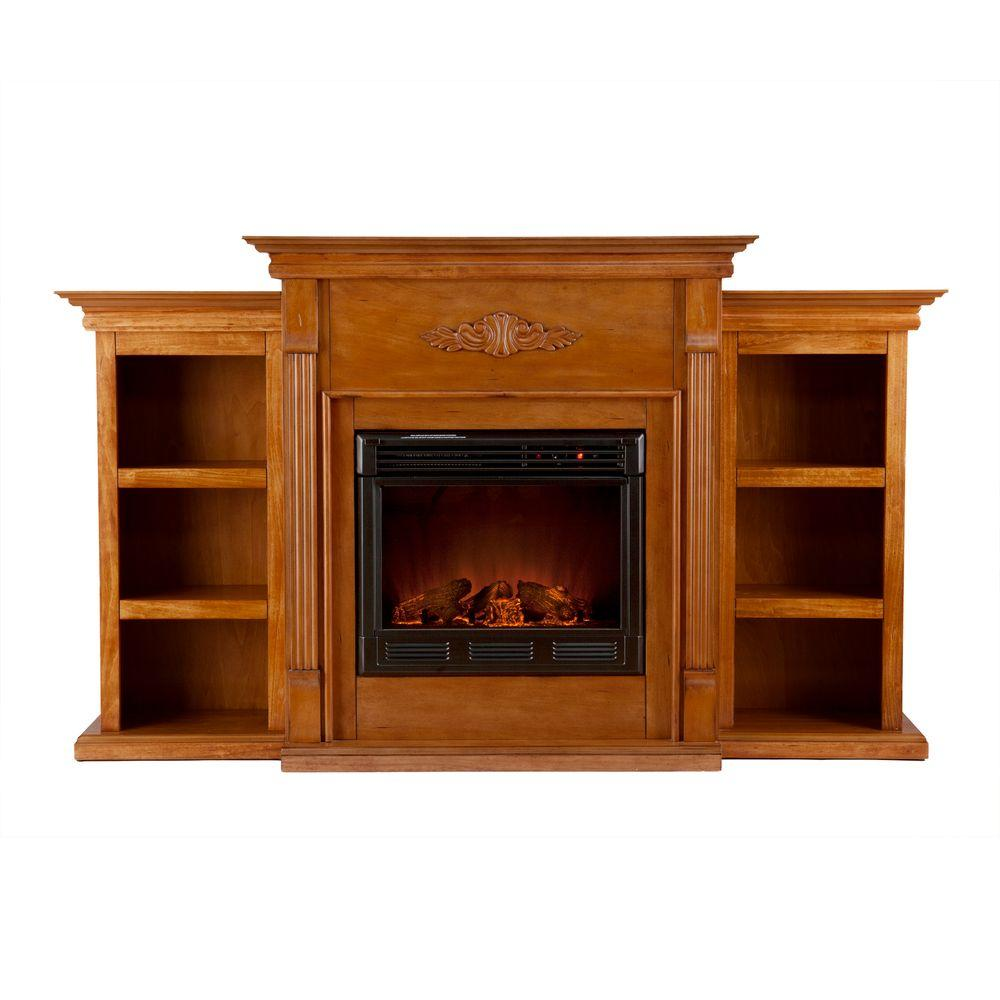Southern Enterprises Tennyson 70 in. Electric Fireplace with Bookcases in Glazed Pine
