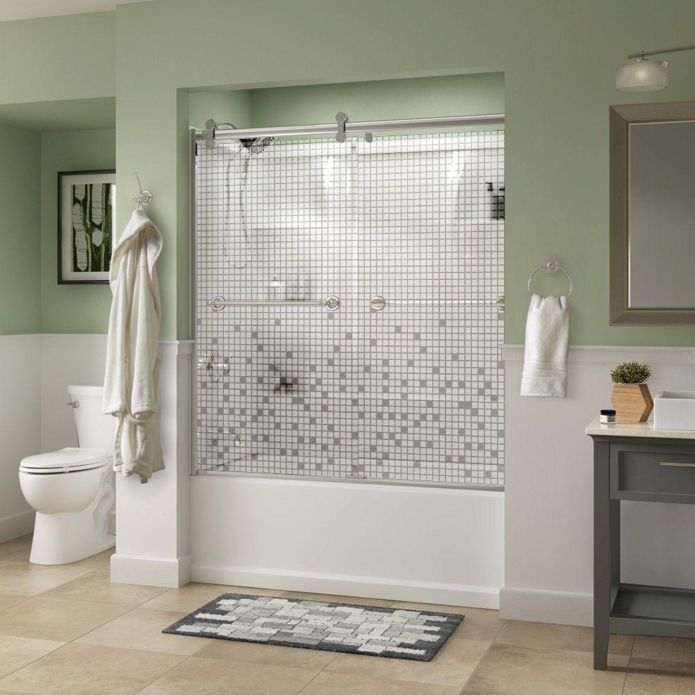 Silverton 60 in. x 58-3/4 in. Semi-Frameless Contemporary Sliding Bathtub Door