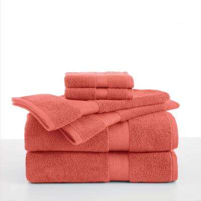Abundance 6-Piece Cotton Blend Towel Set in Coral