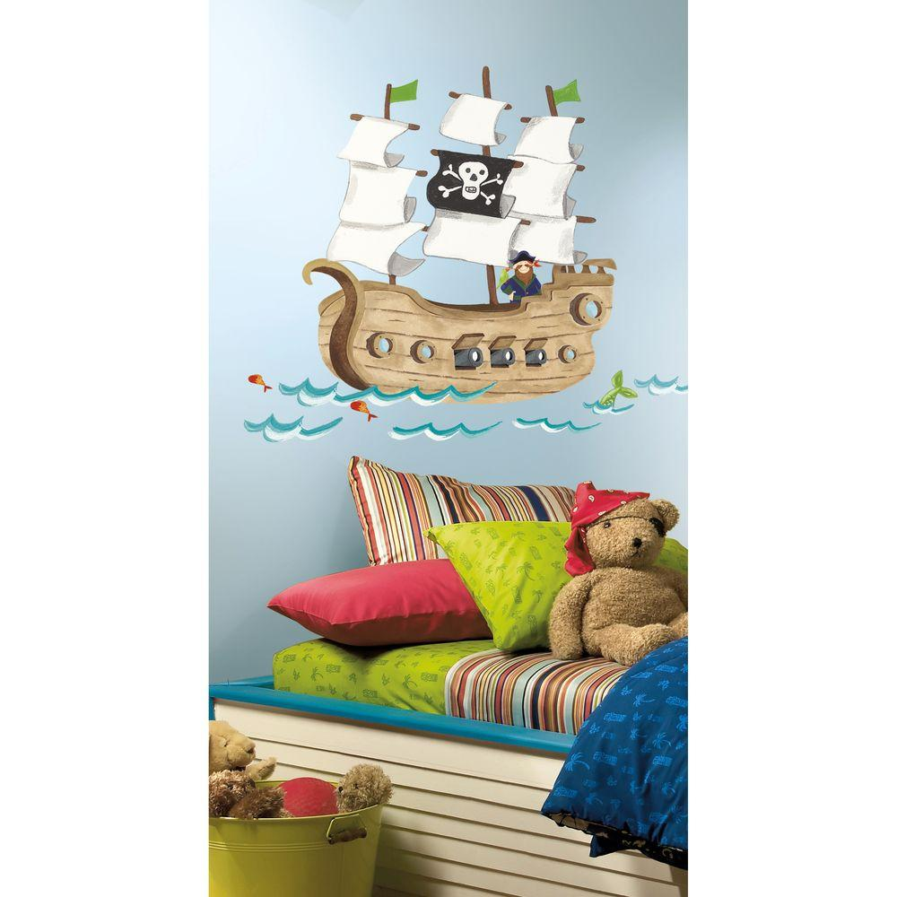 null 27 in. x 40 in. Pirate Ship 18-Piece Peel and Stick Giant Wall Decals