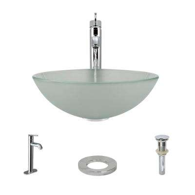 Glass Vessel Sink in Frosted with R9-7001 Faucet and Pop-Up Drain in Chrome