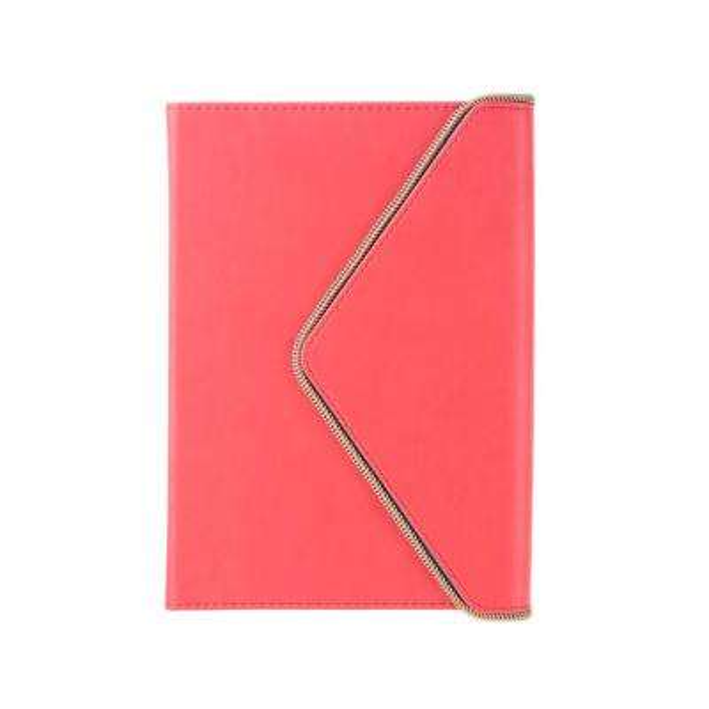 6 in. x 8 in. Envelope Gold Zipper Journal, Coral