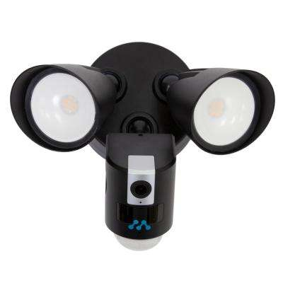 Aria LED Floodlight with Built-in Wi-Fi Surveillance Camera in Black