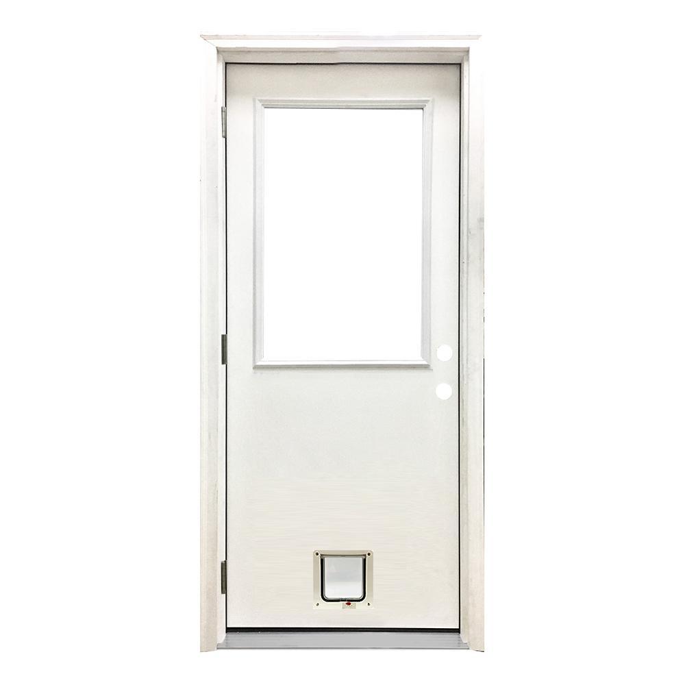 36 in. x 80 in. Classic Half Lite RHOS White Primed Textured Fiberglass Prehung Front Door with Small Cat Door
