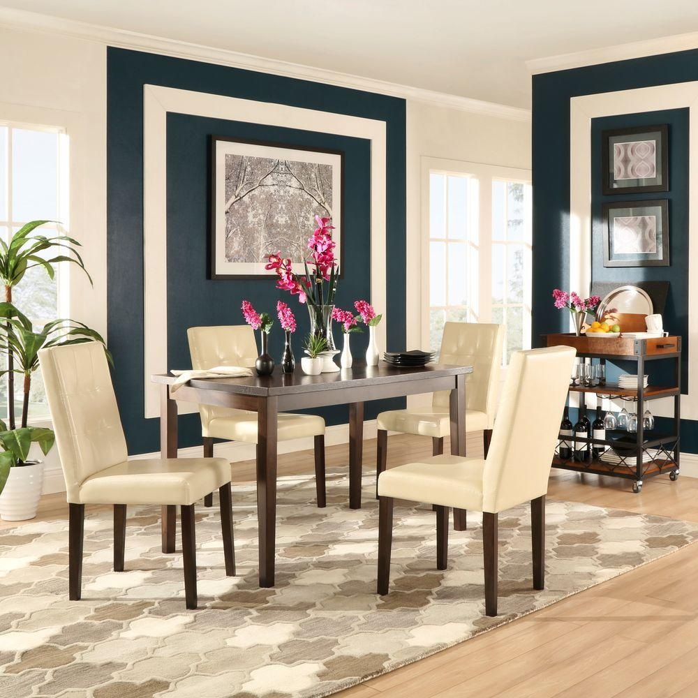 Whitley Cappuccino 5 Piece Dinette Set: HomeSullivan Braemar 5-Piece Espresso And Ivory Dining Set