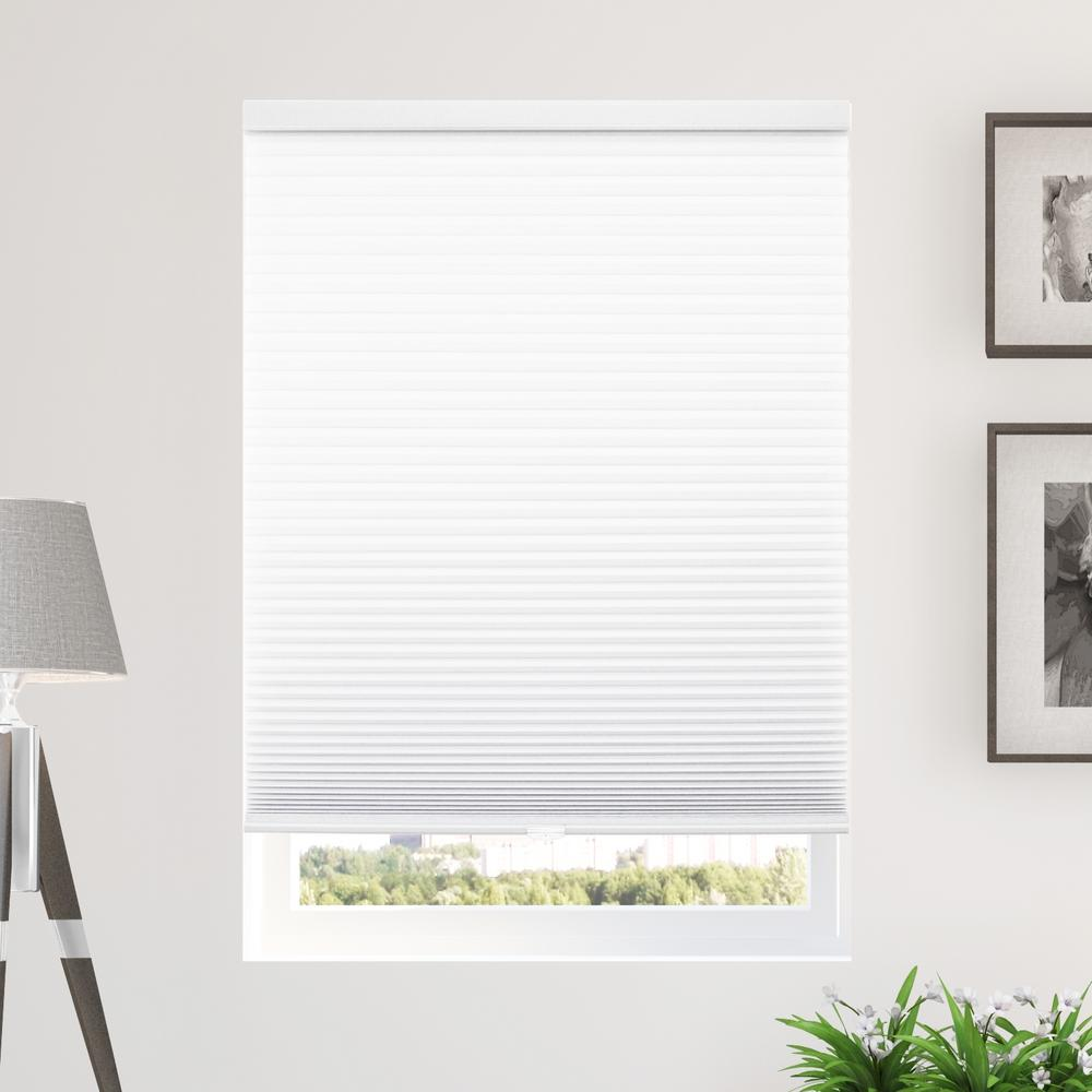 Cut-to-Width White 9/16 in. Light Filtering Cordless Cellular Shade - 67.5
