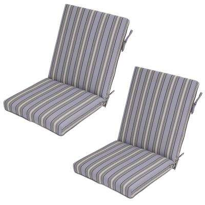 Cement Stripe Outdoor Dining Chair Cushion (2-Pack)