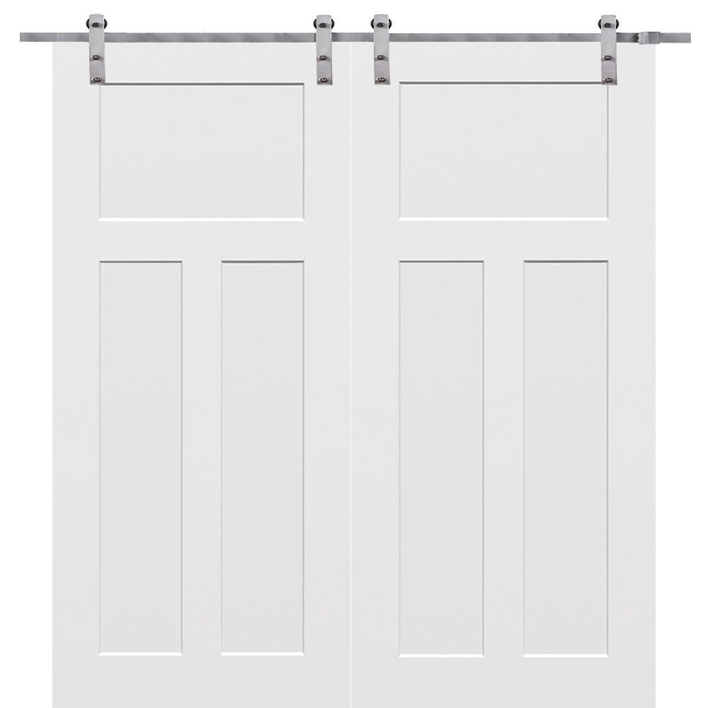 Mmi Door 60 In X 80 Primed Craftsman Smooth Surface Solid Core Double With Barn Hardware Kit