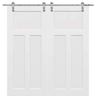 72 in. x 80 in. Primed Craftsman Smooth Surface Solid Core Double Door with Barn Door Hardware Kit