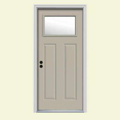 34 In. X 80 In. 1 Lite Craftsman Desert Sand Painted Steel Prehung Right
