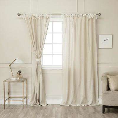 Natural 84 in L. Abelia Belgian Flax Linen Lace Tie Top Curtain Panel