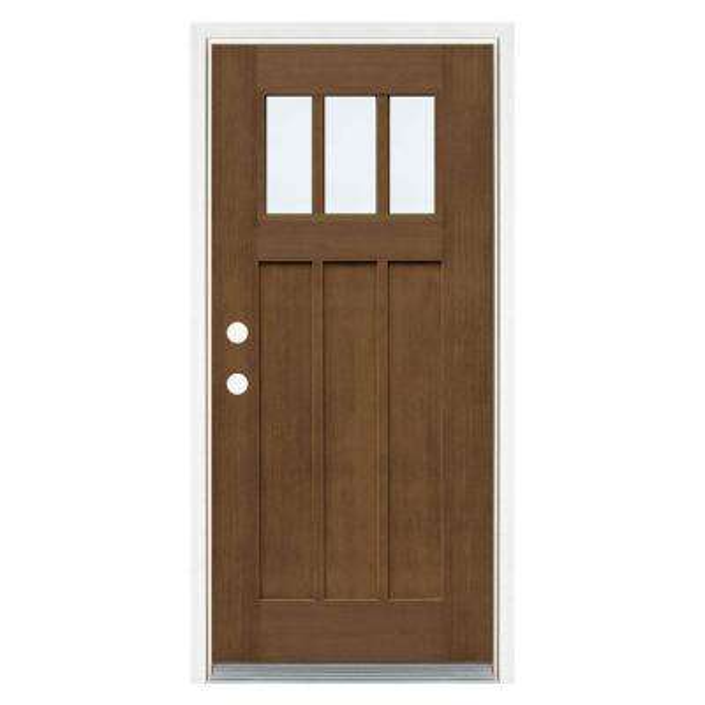 36 in. x 80 in. Medium Oak Right-Hand Inswing 3 Lite LoE Classic Craftsman Stained Fiberglass Prehung Front Door