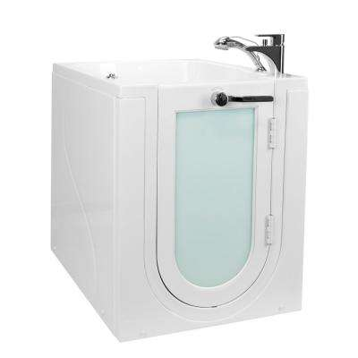Front Entry 32 in. Acrylic Walk-In Micro Bubble Air Bathtub in White, RH Outward Swing Door Fast Fill Faucet,2 in. Drain