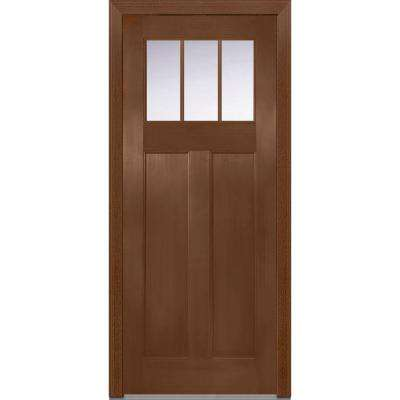 36 in. x 80 in. Shaker Right-Hand Inswing 3-Lite Clear Low-E 2-Panel Stained Fiberglass Fir Prehung Front Door