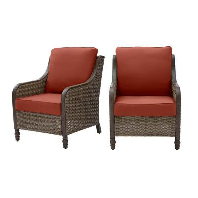 Windsor Brown Wicker Outdoor Patio Lounge Chair with Sunbrella Henna Red Cushions (2-Pack)