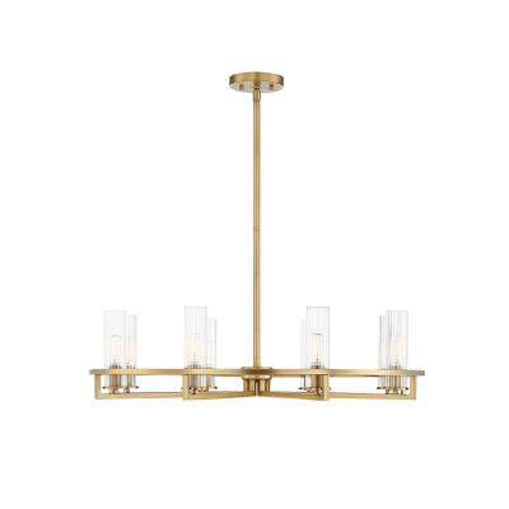 8-Light Warm Brass Chandelier