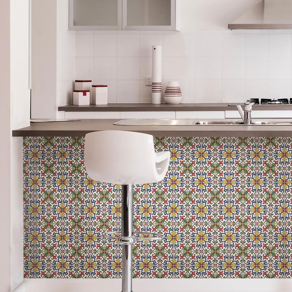 Wall Pops Multi Color Tuscan Tile Peel Stick Backsplash Tiles Nh2365 The Home Depot