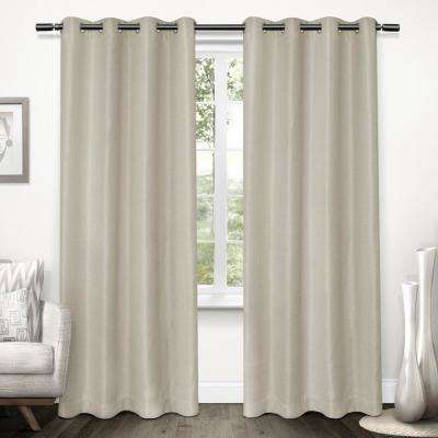 Tweed 52 in. W x 96 in. L Woven Blackout Grommet Top Curtain Panel in Natural (2 Panels)