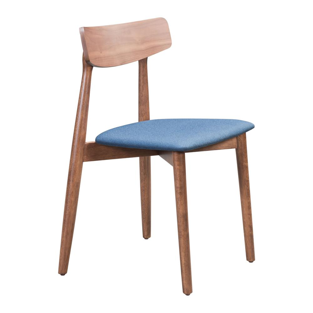 Zuo Newman Walnut And Ink Blue Dining Chair Set Of 2 100978 The