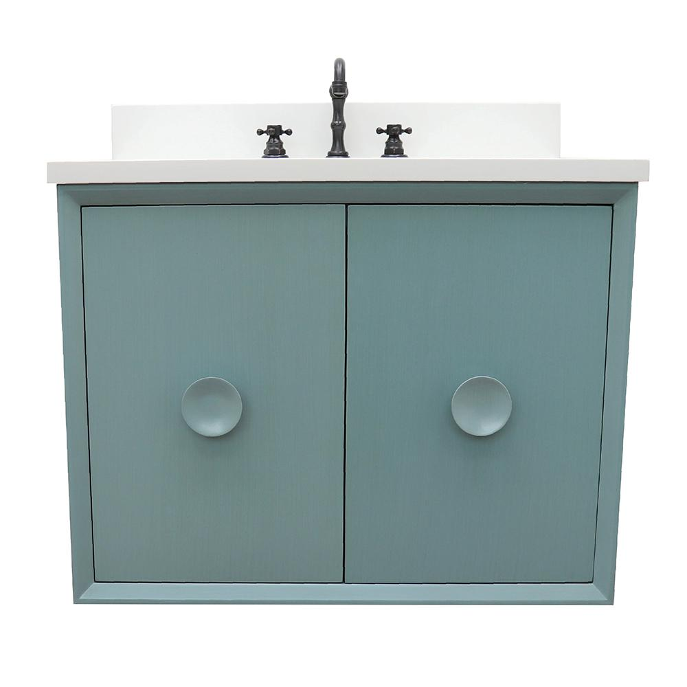 Bellaterra Home Stora 31 in. W x 22 in. D Wall Mount Bath Vanity in Aqua Blue with Quartz Vanity Top in White with White Oval Basin