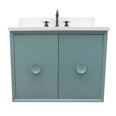 Stora 31 in. W x 22 in. D Wall Mount Bath Vanity in Aqua Blue with Quartz Vanity Top in White with White Oval Basin