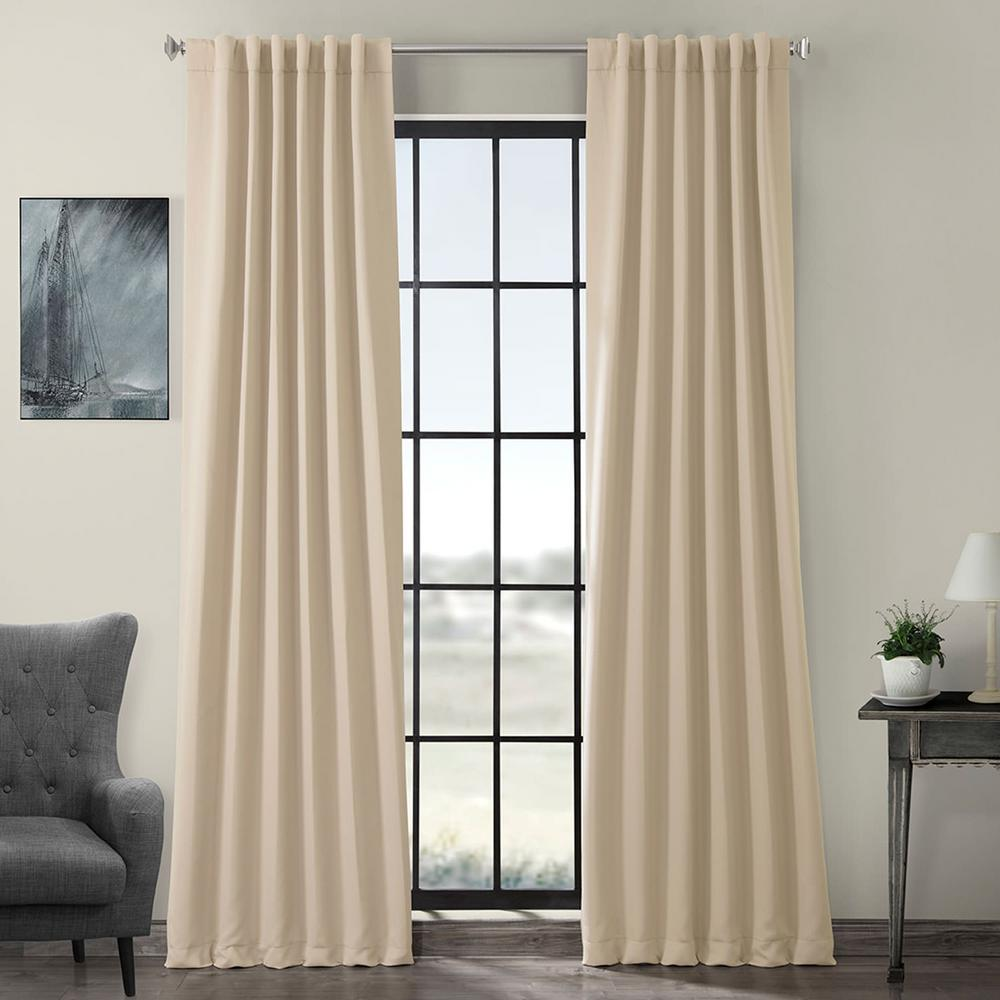 Exclusive Fabrics & Furnishings Semi-Opaque Egg Nog Ivory Blackout Curtain - 50 in. W x 96 in. L (Panel)