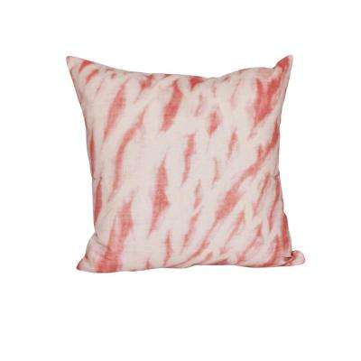 16 in. x 16 in. Coral Shibori Stripe Geometric Print Pillow