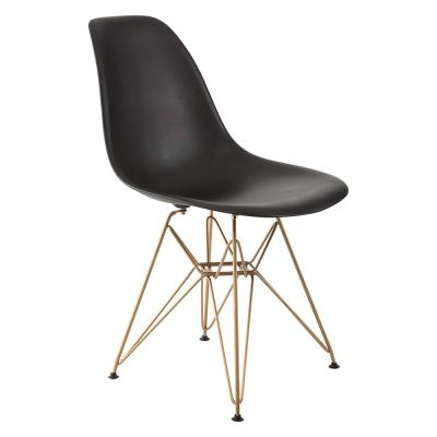 Banks Black Armless Side Chair with Gold Legs
