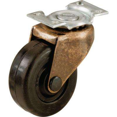 2 in. Soft Rubber Swivel Plate Casters with 80 lb. Load Rating (2 per Pack)