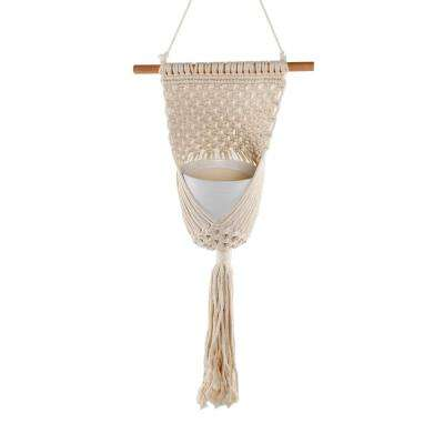 33 in. Wood and Macrame Plant Hanger