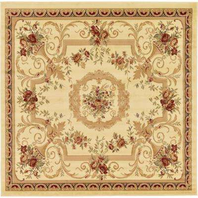 Traditional  Versailles Cream 8 ft. x 8 ft. Square Rug