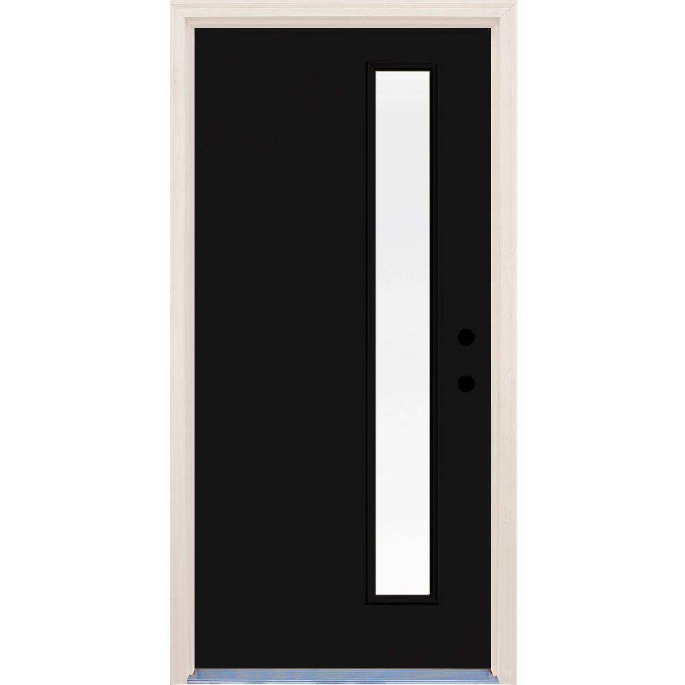 Builder's Choice 36 in. x 80 in. Inkwell 1 Lite Clear Glass Painted Fiberglass Prehung Front Door with Brickmould