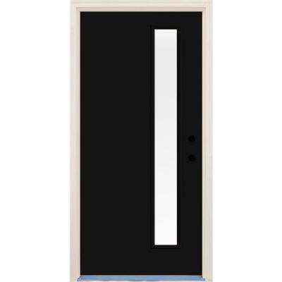 36 in. x 80 in. Inkwell Left-Hand 1 Lite Clear Glass Painted Fiberglass Prehung Front Door with Brickmould