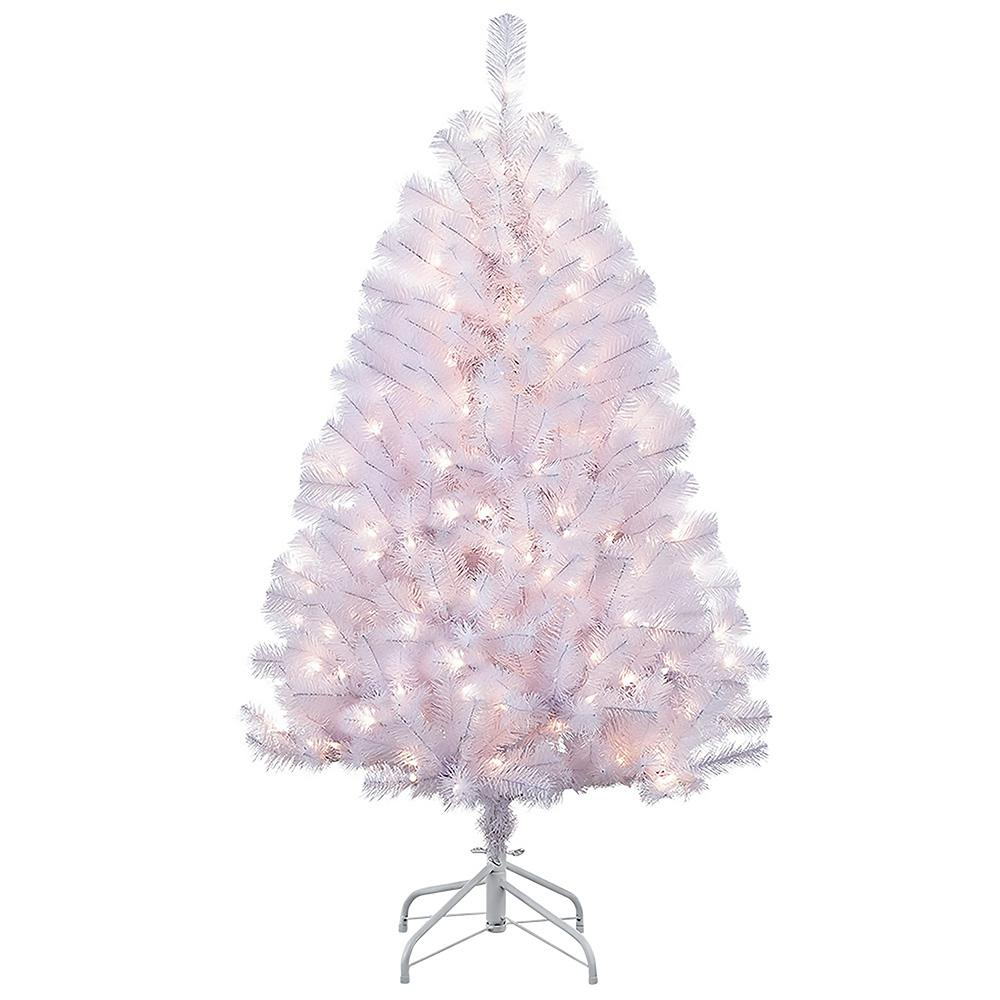 Incandescent Christmas Lights Decorations The Home Depot Wire Tree In Addition Led Wiring Pre Lit Shiny White Northern Fir Artificial