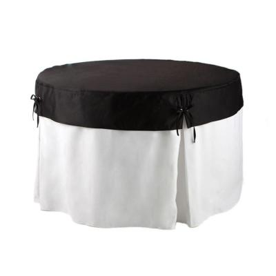 60 in. Round Table in White Table Cloth with Black Topper